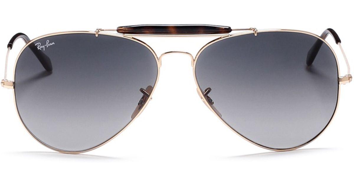 9e1d69b768 Lyst - Ray-Ban  outdoorsman Ii  Tortoiseshell Brow Bar Aviator Sunglasses  in Gray for Men
