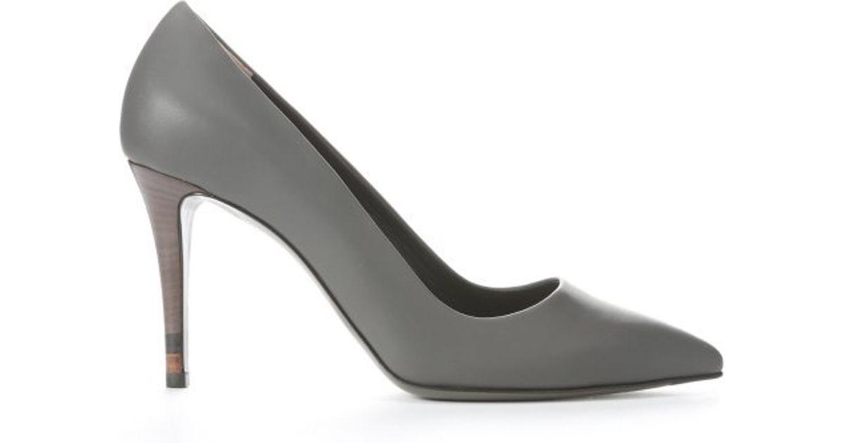 20f95c988ea Fendi Grey Leather  decollete  Stiletto Pumps in Gray - Lyst