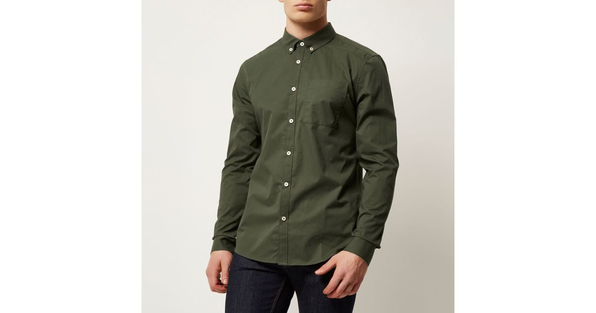 River Island Olive Green Twill Button Down Shirt In Green