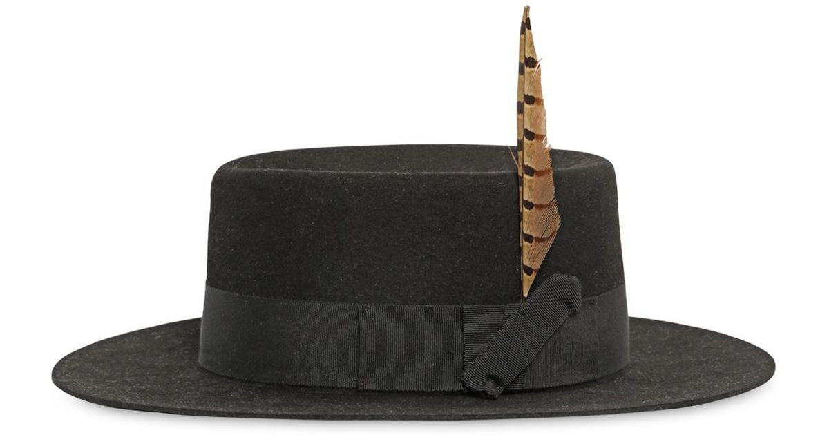 Lyst - Saint Laurent Felted Lapin Hat With Feather in Black for Men 510d59325ed1