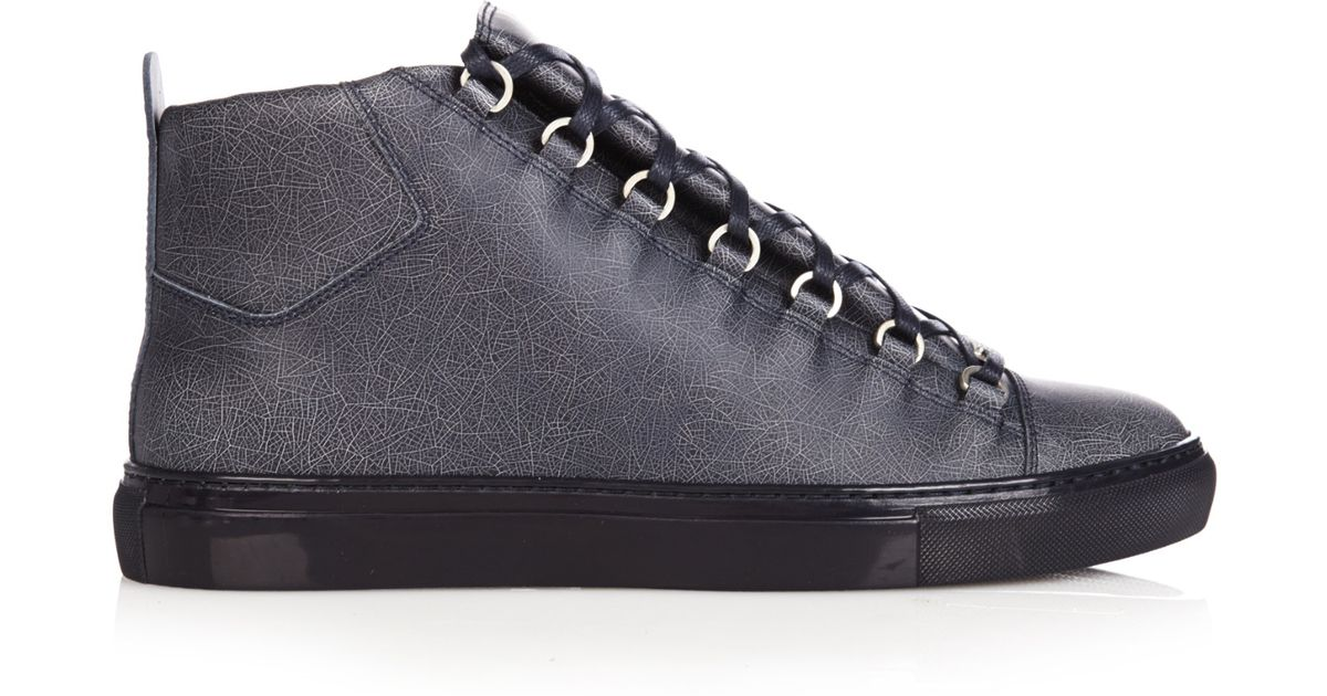 d4b51600ec04c Lyst - Balenciaga Arena High-Top Cracked-Leather Trainers in Blue for Men