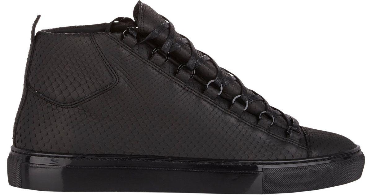 6c693d90ea5 Balenciaga Python Arena High-top Sneakers in Black for Men - Lyst