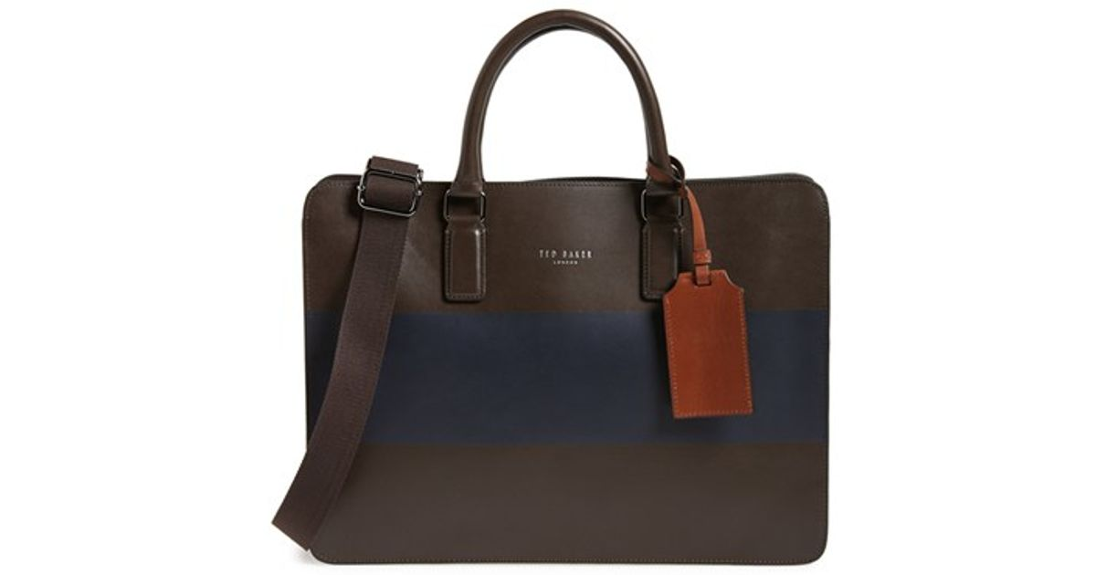 Ted baker 39monkay39 leather document bag in brown for men for Ted baker london leather document bag