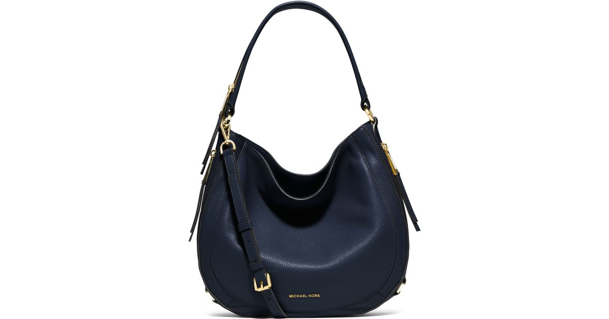 ... real lyst michael kors julia medium leather shoulder bag in blue bf228  c6883 ccfd290180