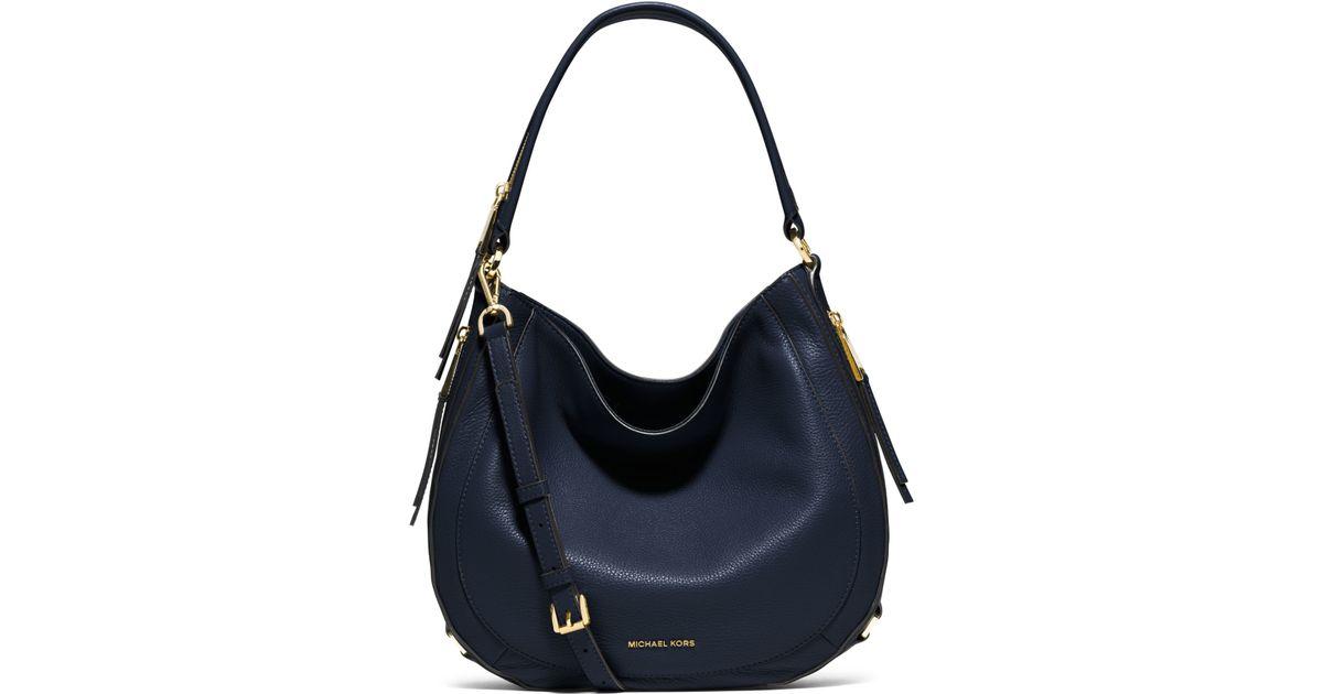 e5f7b5d91ad4 ... real lyst michael kors julia medium leather shoulder bag in blue d4031  ef6c7 ...