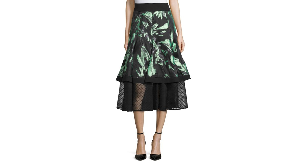 j mendel floral print a line midi skirt in green save