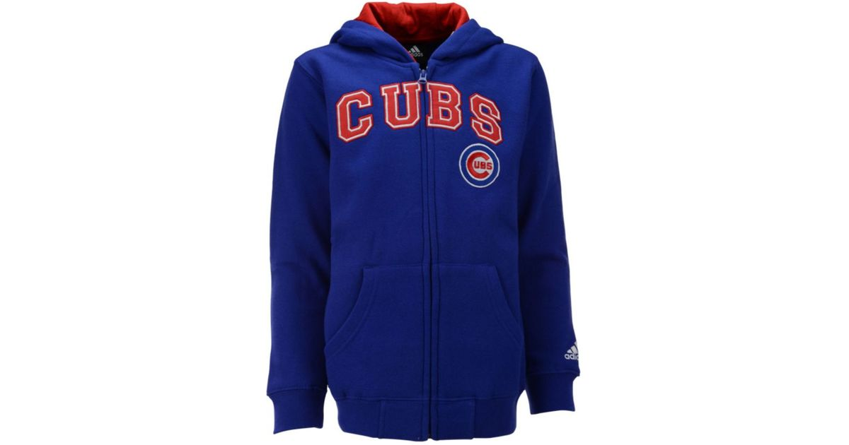 online store 7a42a 8fabc Adidas - Blue Boys' Chicago Cubs Full-zip Embroidered Hoodie for Men - Lyst