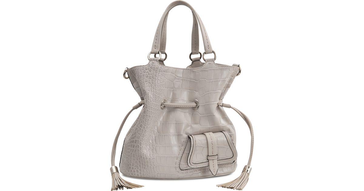 c688d8bf12a1 Lancel Premier Flirt Croc Bucket Bag in Gray - Lyst