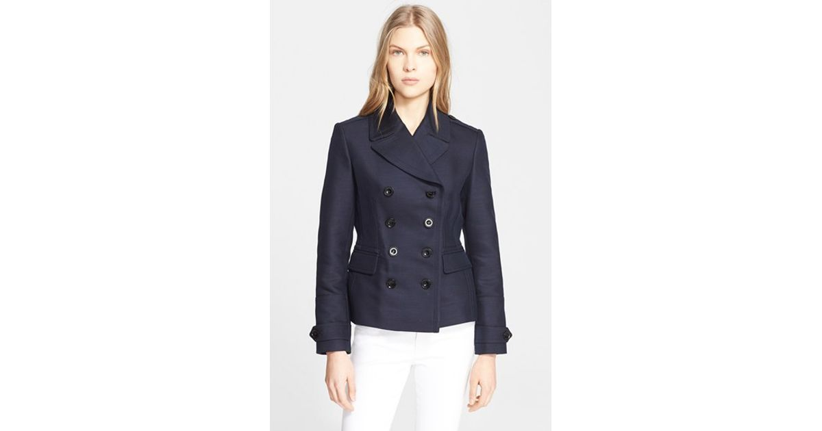 Burberry brit 'locksbury' Short Trench Coat in Blue | Lyst