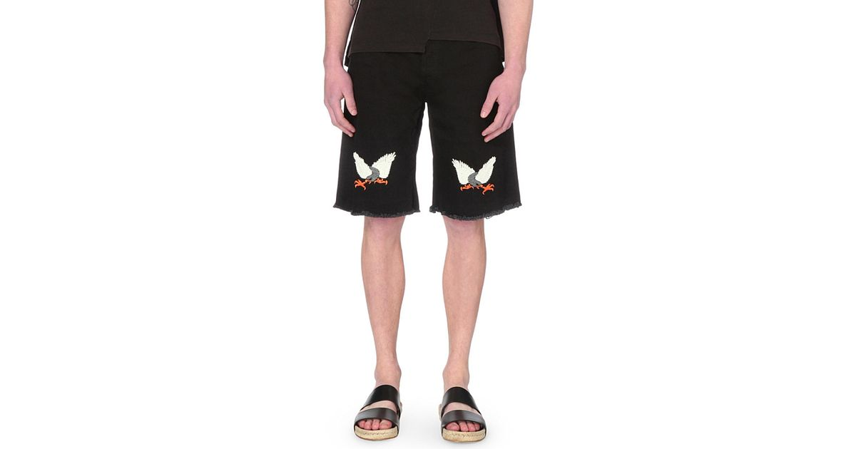 eed3d55a651f Lyst - Off-White c o Virgil Abloh Straight-fit Eagle Stretch-denim Shorts in  Black for Men