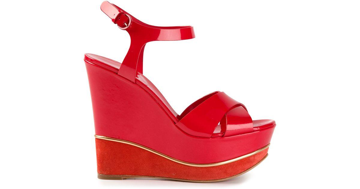 183ecb9e6702 Lyst - Casadei Platform Wedge Sandals in Red