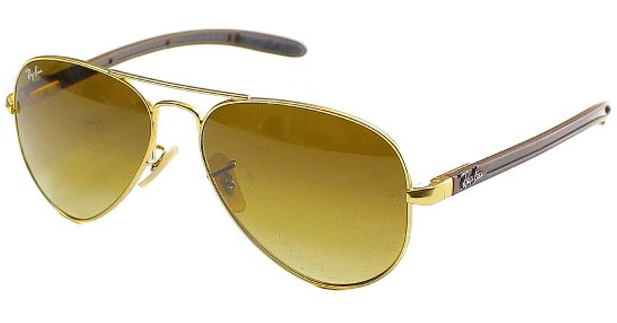 ray ban matte gold aviator  Ray-ban Rb 8307 112/85 Matte Gold Aviator Carbon Fibre Sunglasses ...