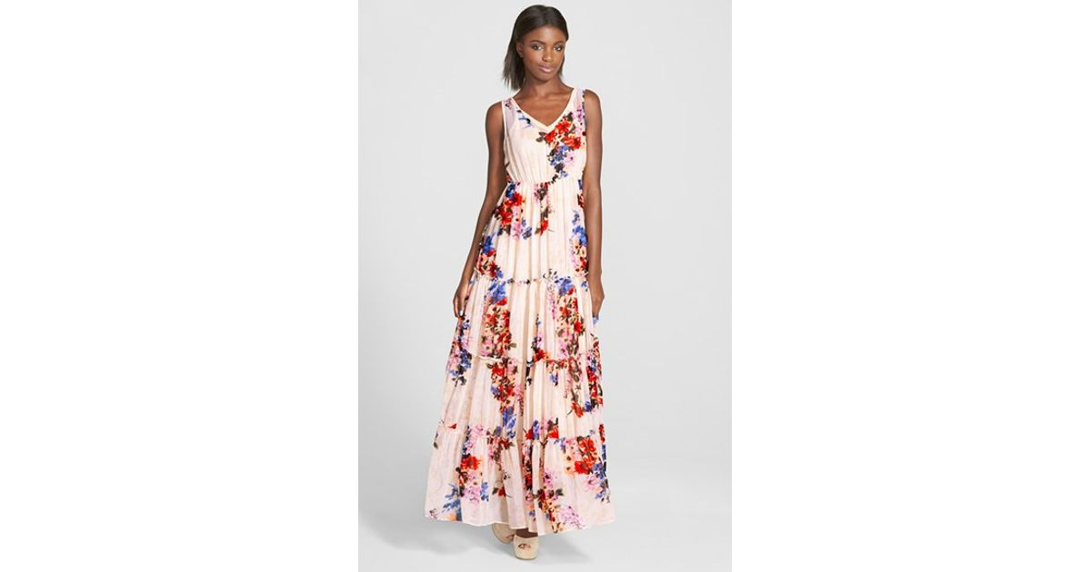 555b3090667 Lyst - Raga  feeling Floral  Tiered Maxi Dress in White