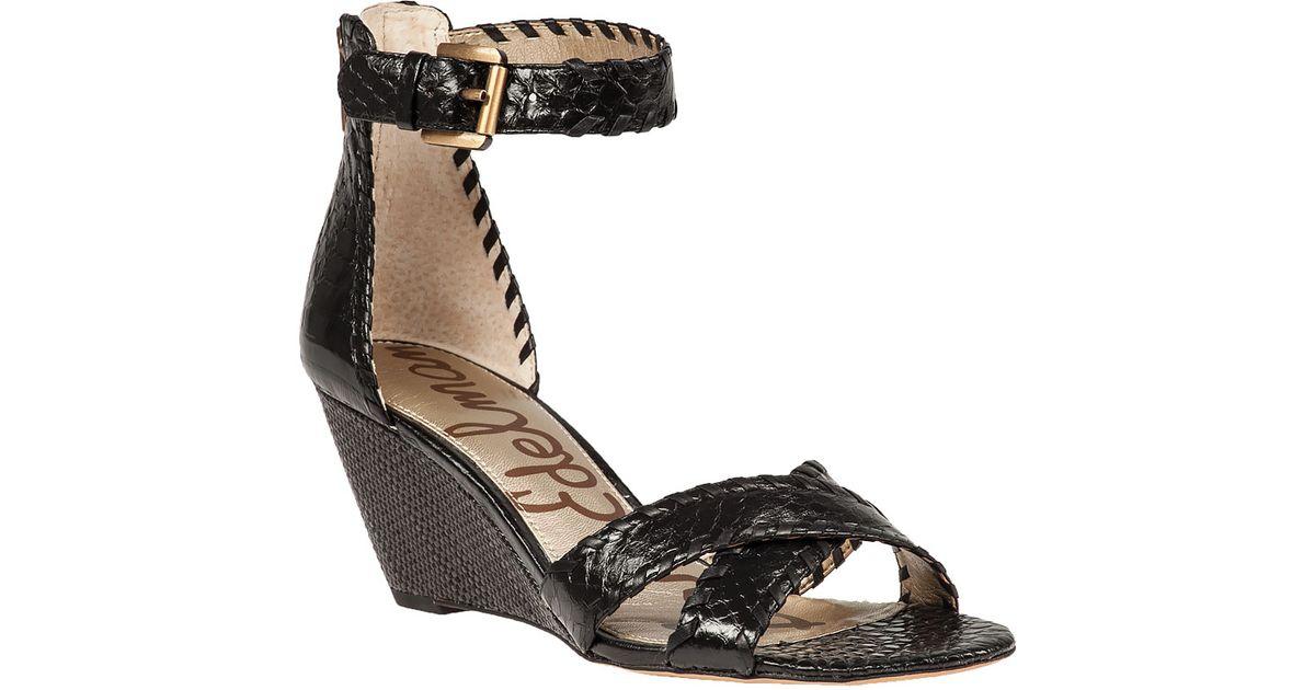 Sam Edelman Silvia Wedge Sandals In Black Lyst