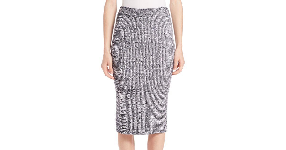 theory nellida knit midi skirt in blue lyst