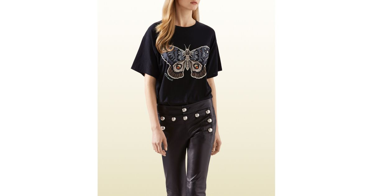 6f211e951 Gucci Kris Knight Butterfly Print T-shirt in Black - Lyst