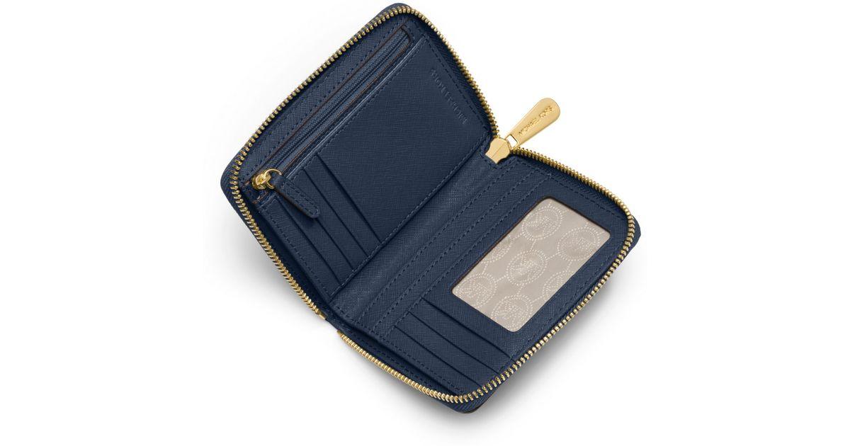 428a07fcf Michael Kors Jet Set Travel Medium Saffiano Leather Continental Wallet in  Blue for Men - Lyst