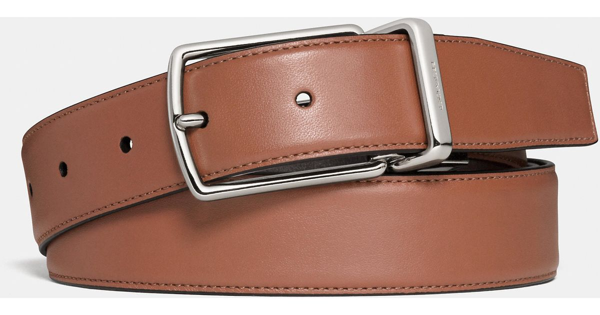 6540b8df708f Lyst - COACH Modern Harness Cut-to-size Reversible Smooth Leather Belt in  Brown