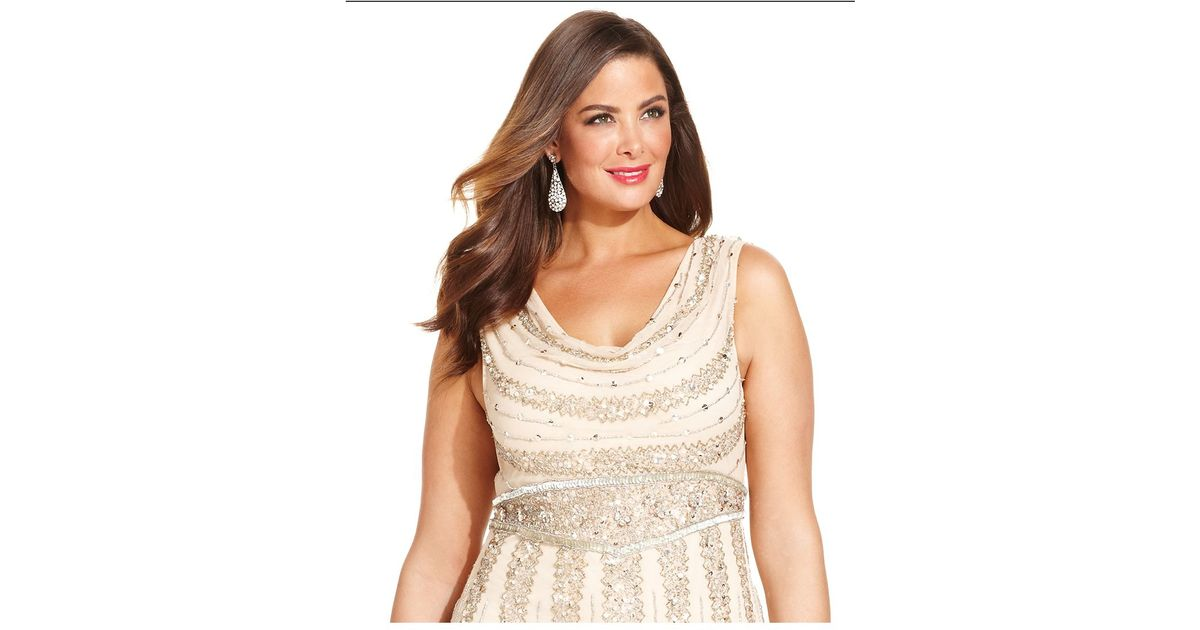 Lyst Patra Plus Size Beaded Cowl Neck Gown In Natural