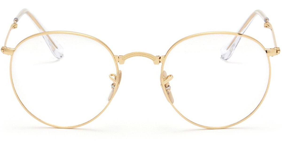 011a54d88746 ... usa lyst ray ban rb3532 round metal folding optical glasses in metallic  679f8 38a0f