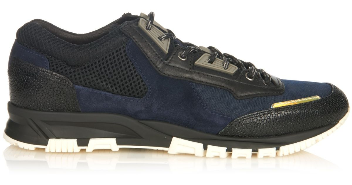 Men Lanvin In Running Suede Lyst And Leather Sneakers Blue For MSLqUzVpGj