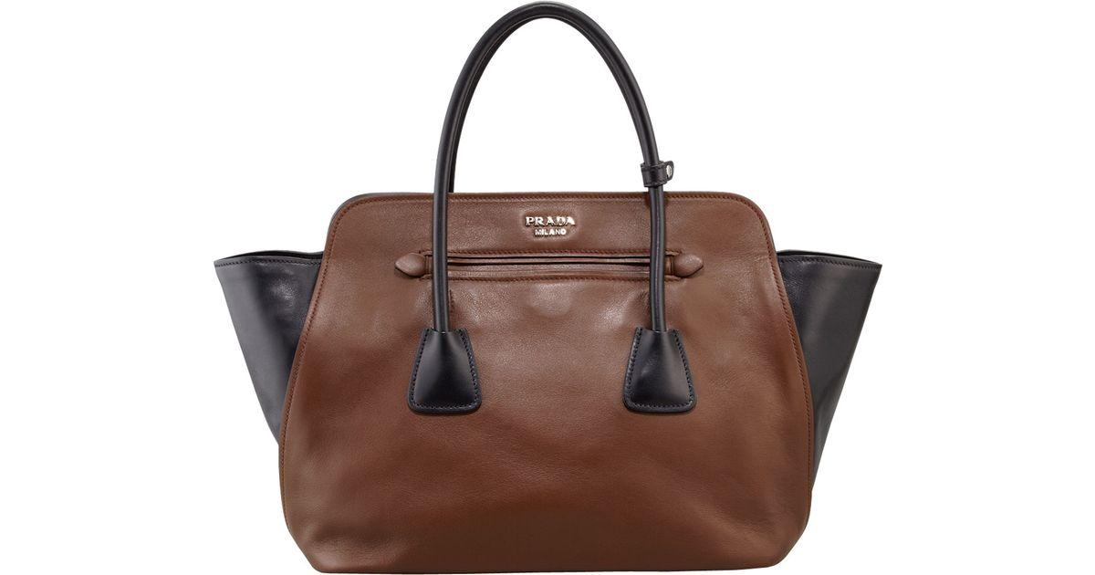 Prada Bicolor Soft Calfskin Tote Bag in Brown (BROWN/BLACK) | Lyst
