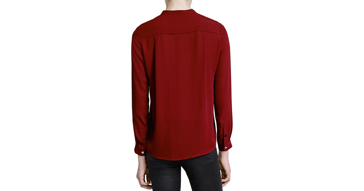 d0d27ecfe0ba46 The Kooples Matte Crepe Shirt in Red - Lyst
