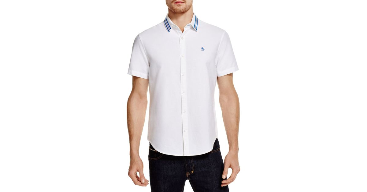 Lyst - Original penguin Brushed Oxford Striped Collar Classic Fit ...