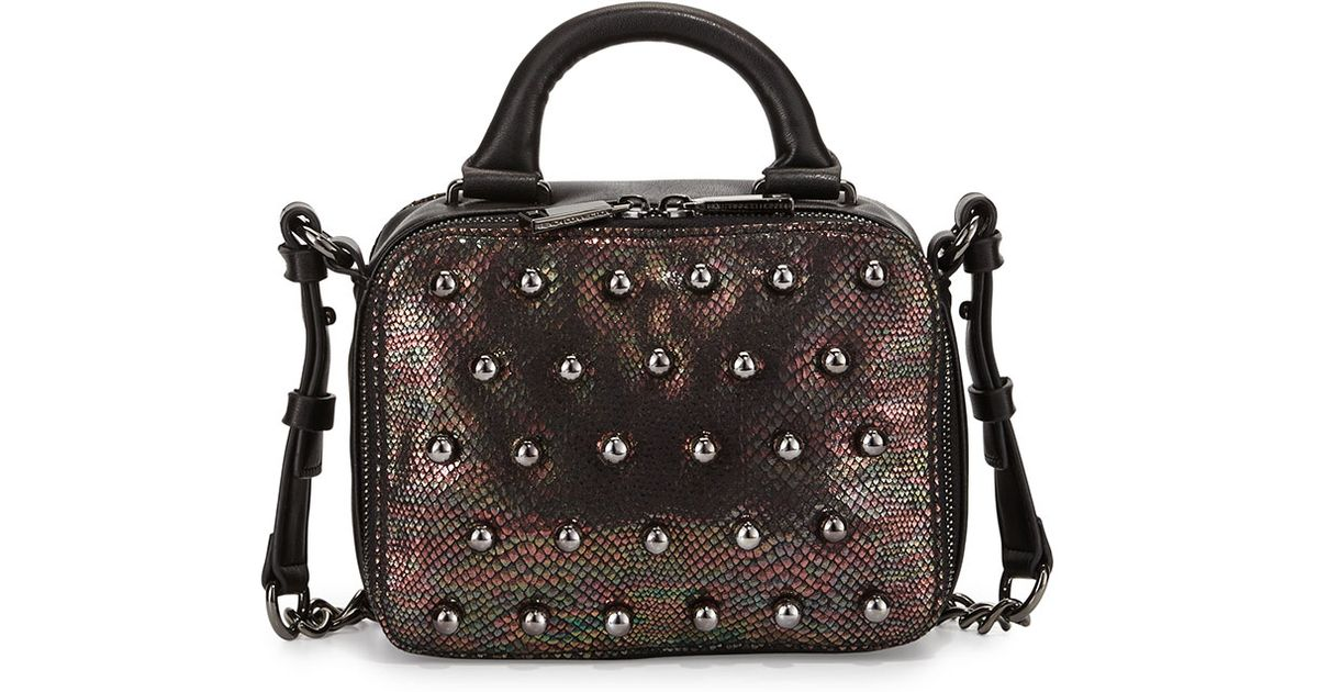 connection vinny studded snake print crossbody bag
