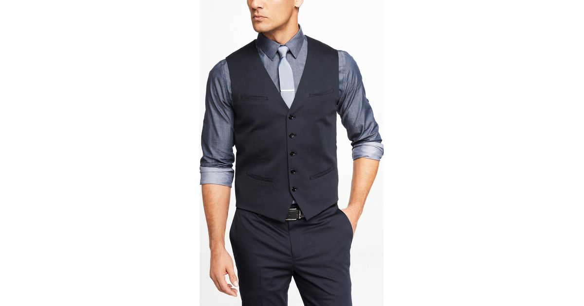ed1330e1b Express Navy Cotton Sateen Suit Vest in Blue for Men - Lyst