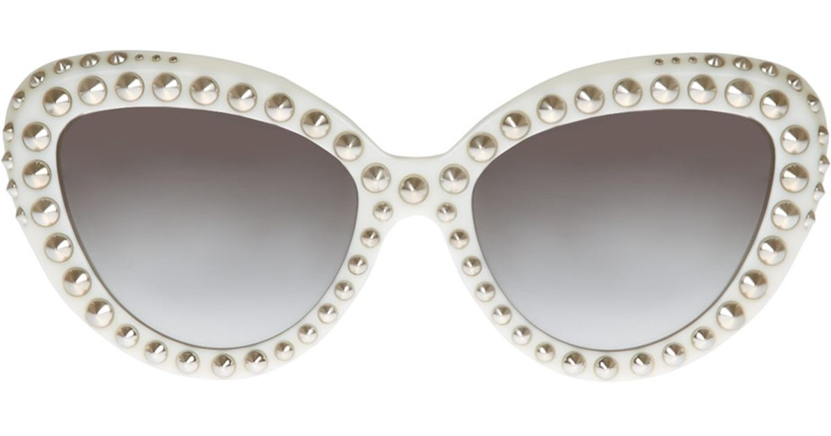 d7d7fd7cc5f ... inexpensive lyst prada white stud cat eye sunglasses in white 0d100  fb8c7