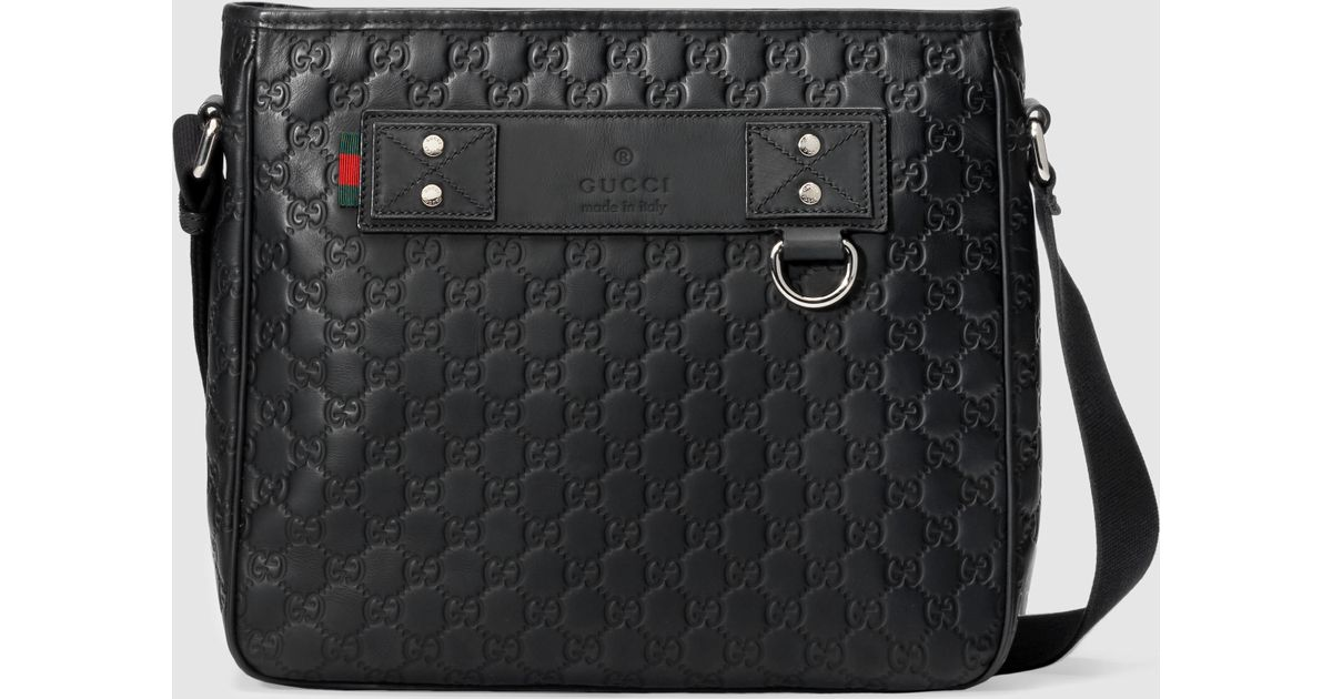 dc406cac015 Lyst - Gucci Rubber Ssima Messenger in Black for Men