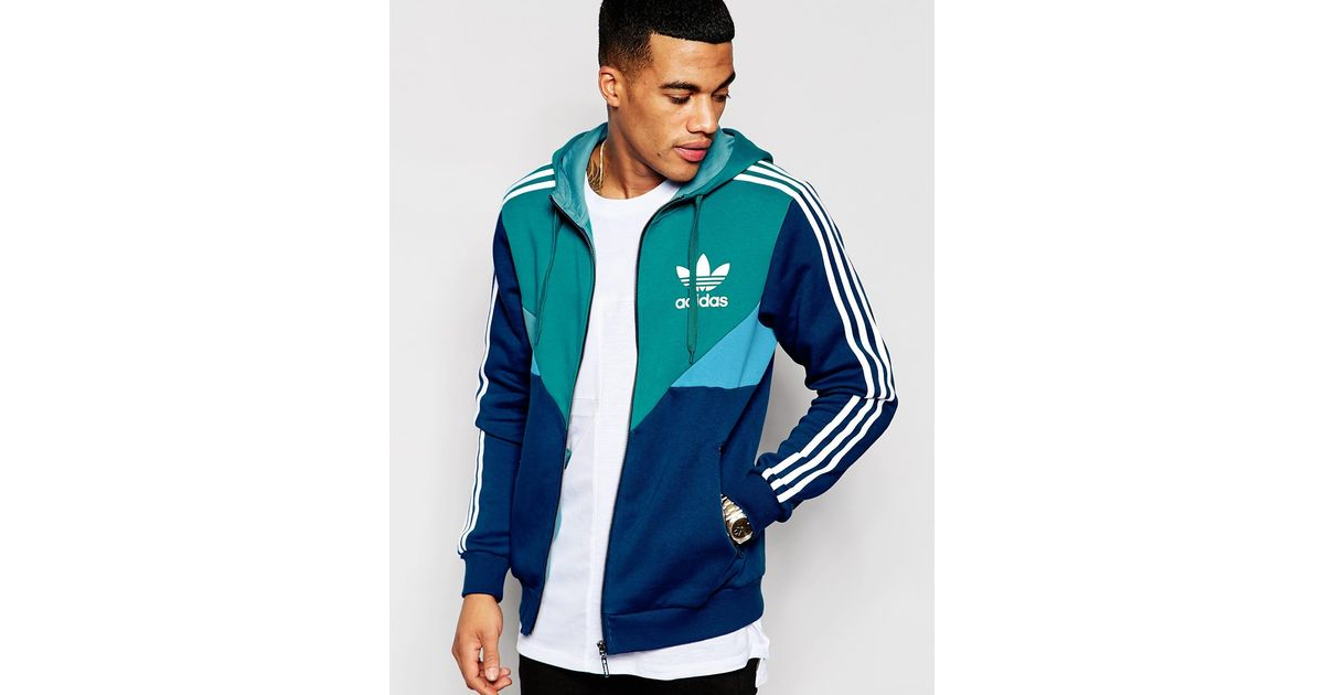Lyst Adidas Originals Zip Up Hoodie Aj6983 In Green For Men