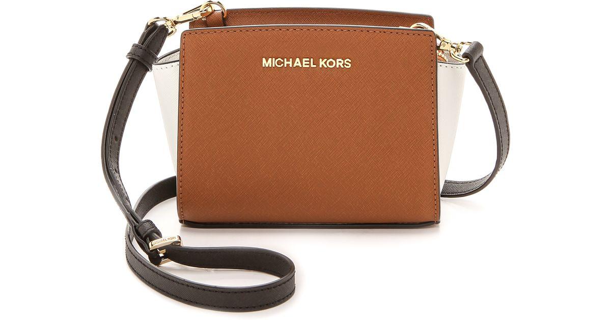 Lyst Michael Kors Colorblock Selma Mini Messenger Bag Luggagewhiteblack In Brown