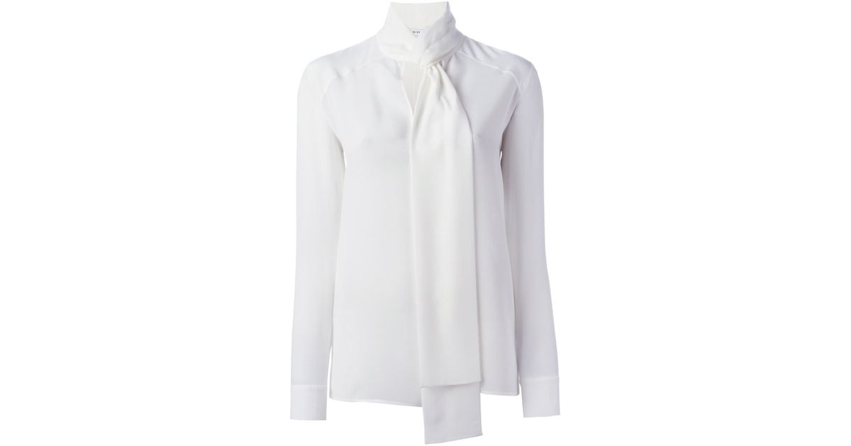 fdd110384608b1 Lyst - Givenchy Tie Neck Blouse in White