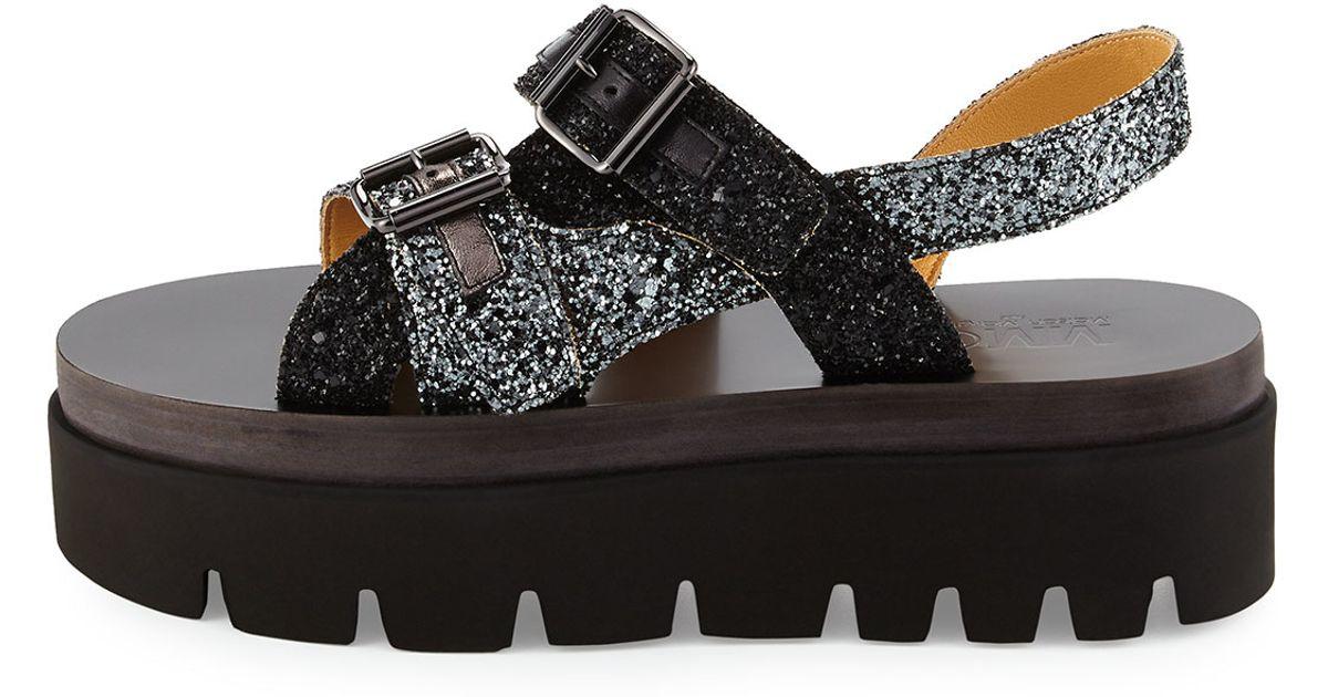 dabba0b421b Lyst - MM6 by Maison Martin Margiela Glitter Platform Sandal in Metallic