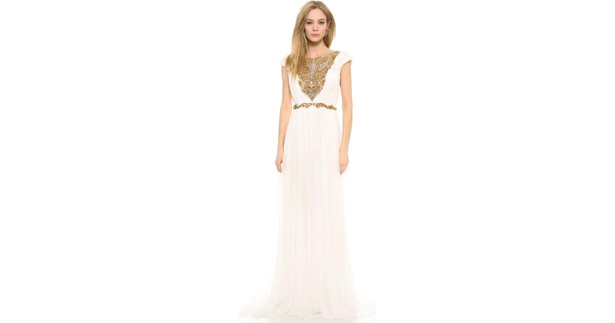 Lyst - Marchesa Silk Chiffon Grecian Gown in White