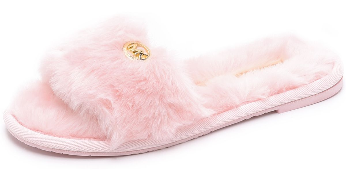 2778dcf701a7 Lyst - MICHAEL Michael Kors Jet Set Faux Fur Slide Slippers - Pink in Pink