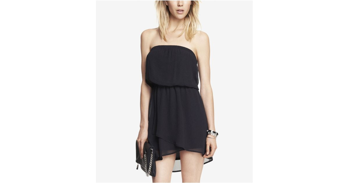 Lyst Express Black Chiffon Elastic Waist Tube Dress In Black