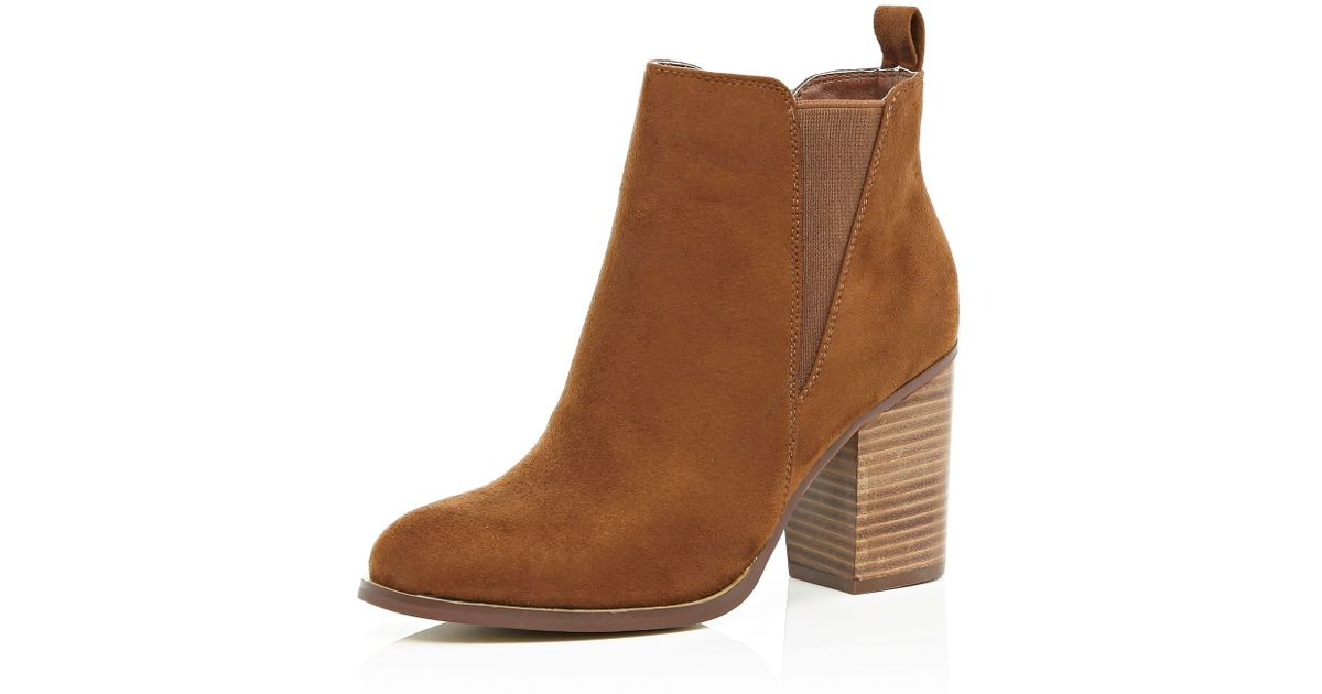 river island heeled chelsea ankle boots in brown