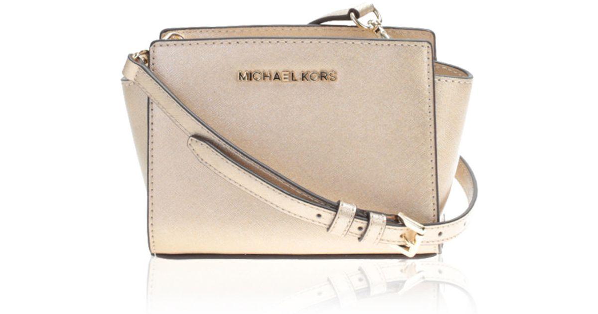 14ec5b864580 Lyst - MICHAEL Michael Kors Gold Leather Selma Mini Bag in Metallic