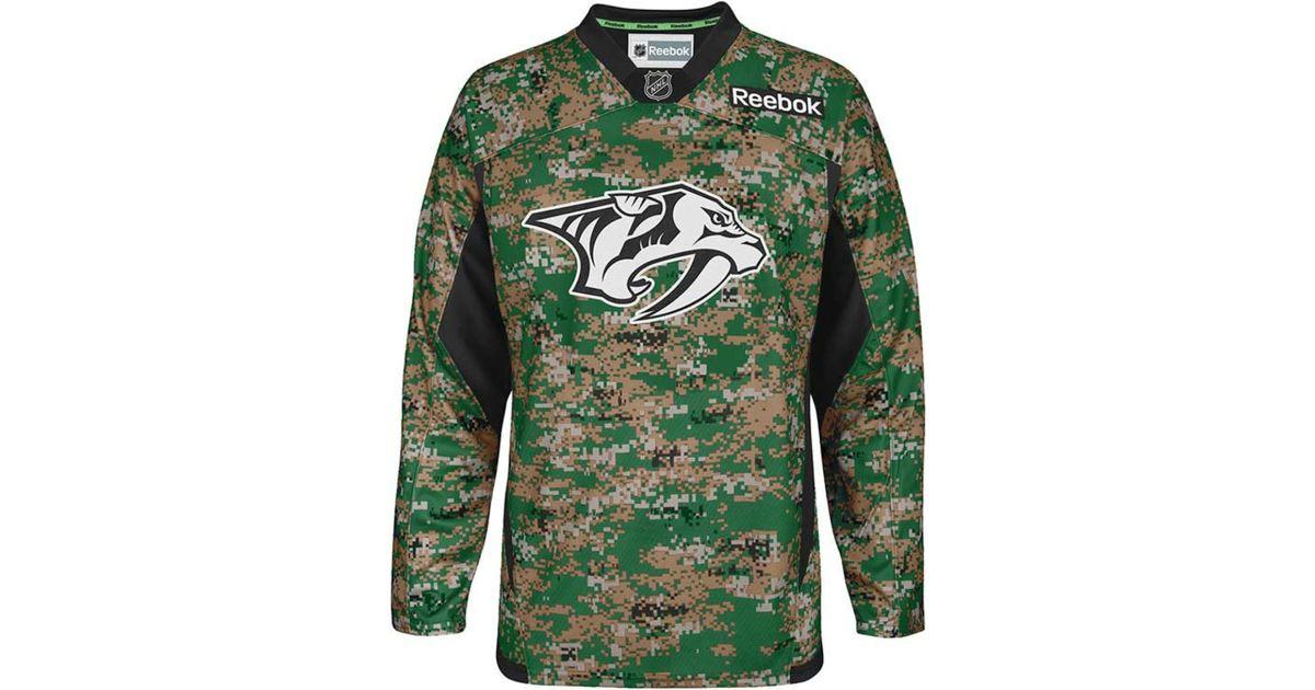 Lyst - Reebok Men s Nashville Predators Camo Jersey in Green for Men a31349fce63