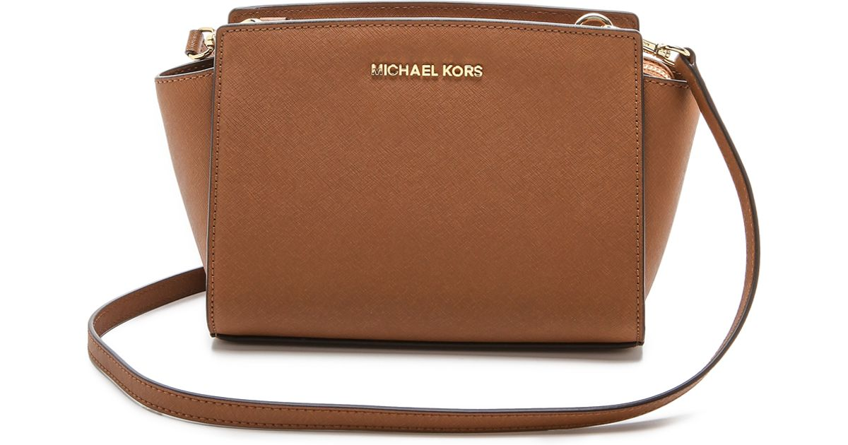 e9a905214388 ... cheapest lyst michael michael kors selma medium leather shoulder bag in  brown 94de1 b315c
