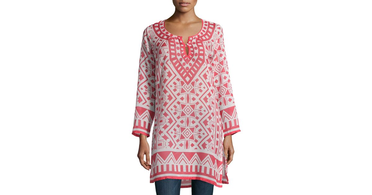 98204288cf6 Raj Moroccan Printed Long-sleeve Tunic Dress in Pink - Lyst