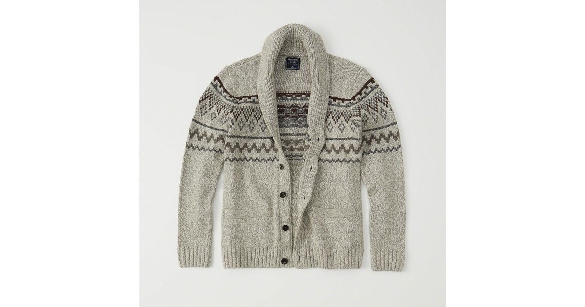 Abercrombie & fitch Fair Isle Cardigan in Gray for Men - Save 38 ...