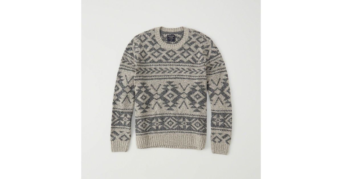 Abercrombie & fitch Fair Isle Sweater in Gray for Men - Save 59 ...