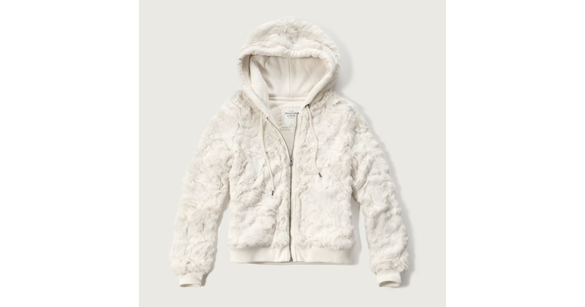 Abercrombie And Fitch Clothing Abercrombie And Fitch Hoodies Abercrombie And Fitch Jackets Abercrombie And Fitch Sweater: Abercrombie & Fitch Faux Fur Full-zip Hoodie In White