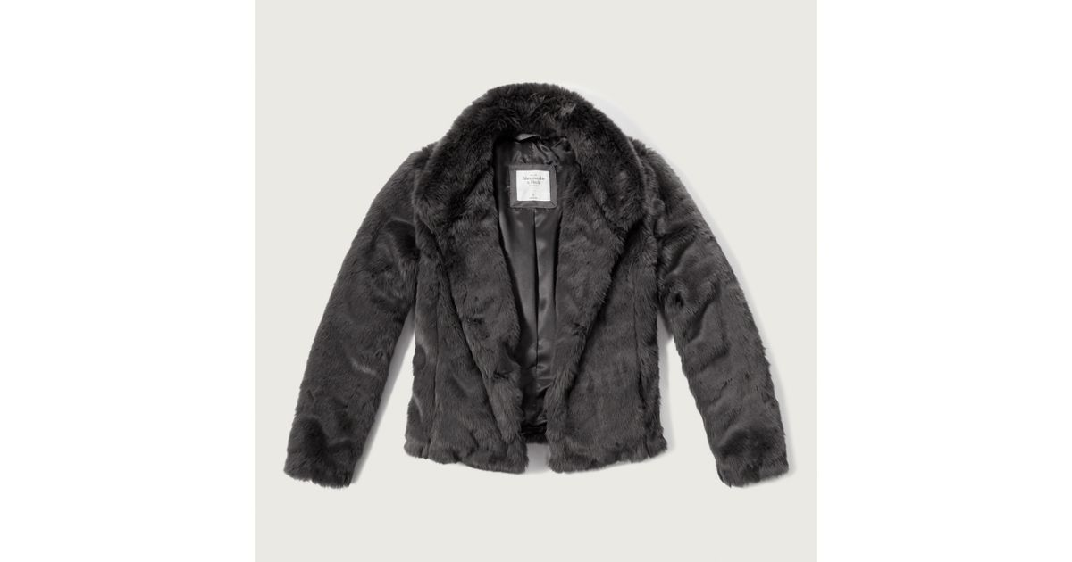 Abercrombie And Fitch Clothing Abercrombie And Fitch Hoodies Abercrombie And Fitch Jackets Abercrombie And Fitch Sweater: Abercrombie & Fitch Faux Fur Jacket In Gray