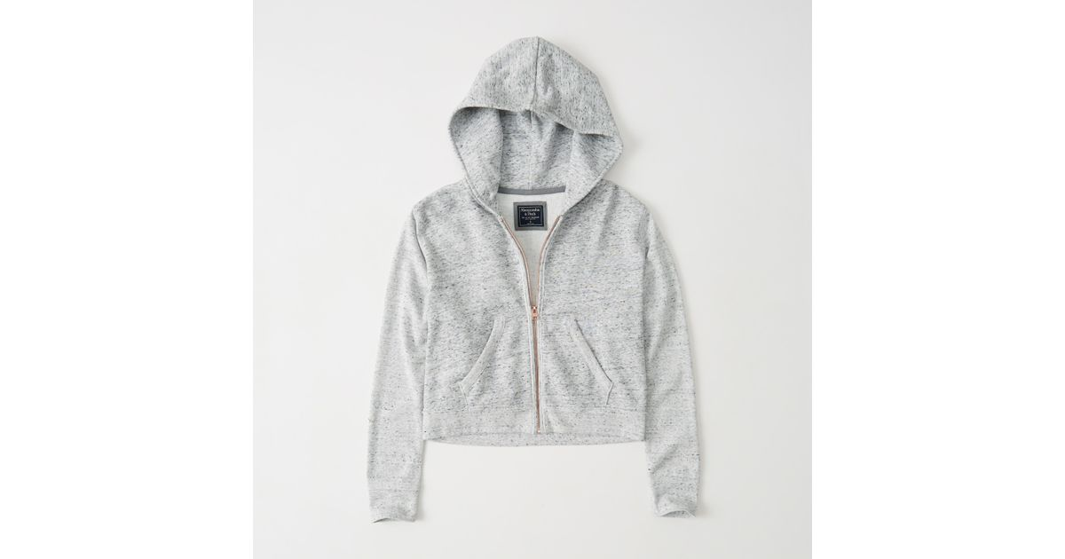 Lyst Abercrombie Fitch Cropped Zip Up Hoodie In Gray