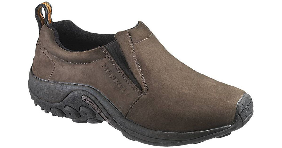 merrell jungle moc nubuck leather shoes in brown for